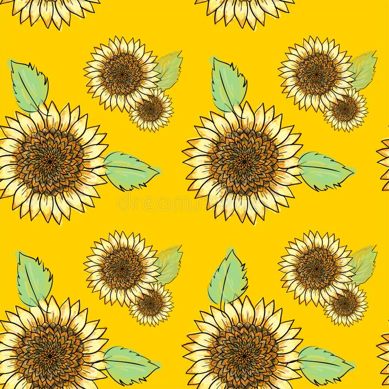 Sunflower  seamless pattern with green leaves, imitating ink and watercolor on yellow background. Hand-drawn flower heads. vector illustration
