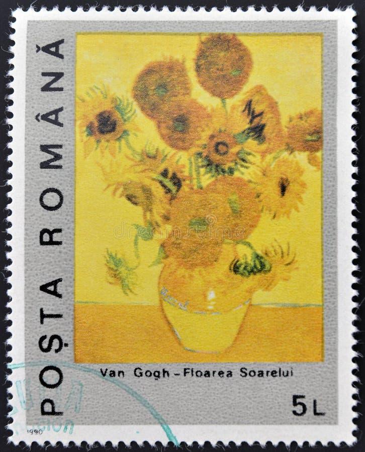 Sunflower by Vincent Van Gogh. ROMANIA - CIRCA 1990: A stamp printed in Romania shows sunflower by Vincent Van Gogh royalty free stock photos