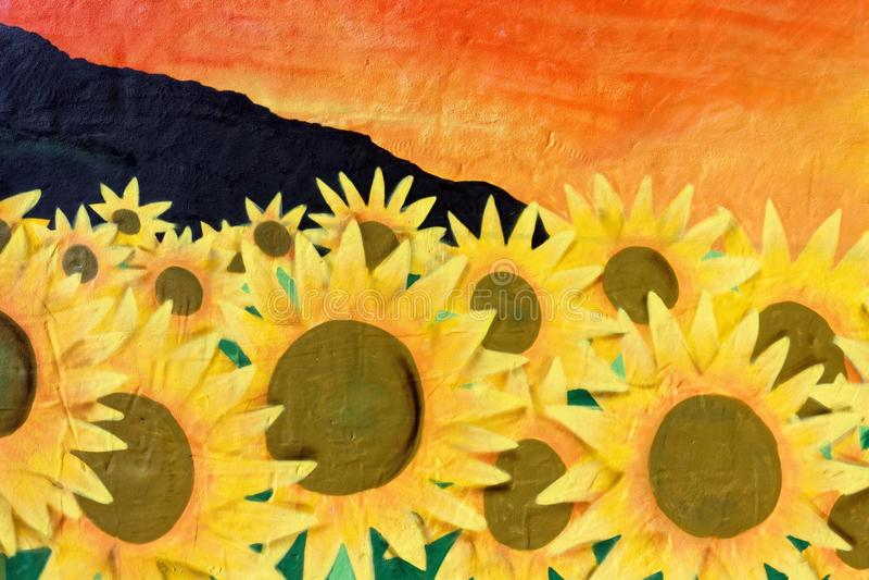 Download Sunflower Wall Art Graffiti Stock Photo   Image Of Nature,  Artwork: 47949526
