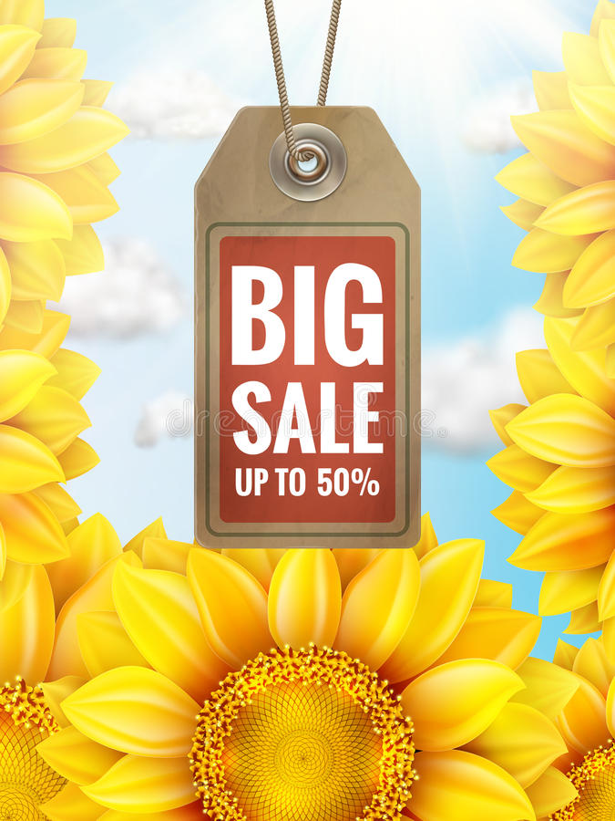 Free Sunflower With Blue Sky - Autumn Sale. EPS 10 Royalty Free Stock Photos - 74641568