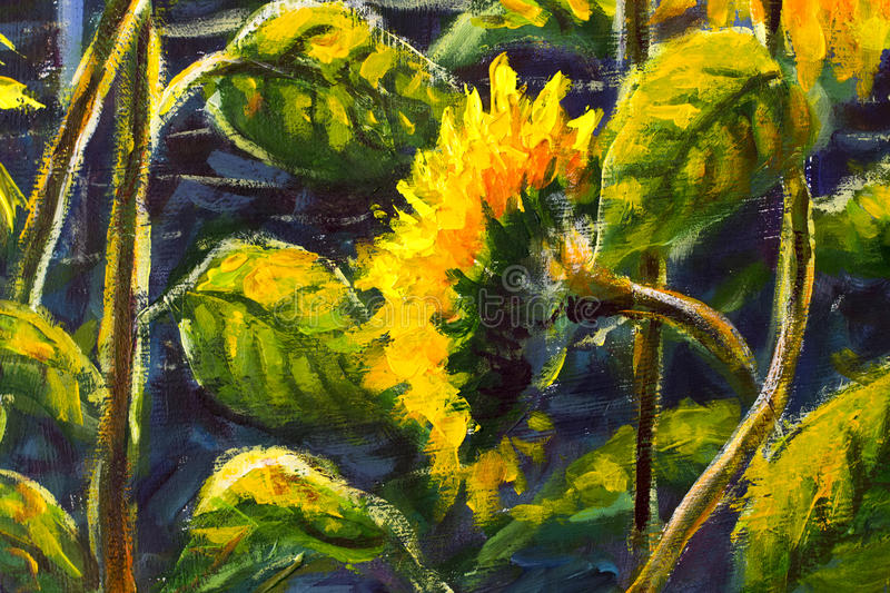Sunflowers Acrylic, Oil painting Original handpainted art of sunflower flowers, beautiful gold sunflowers in sun flowers on canvas. Sunflowers in sun Original stock photo