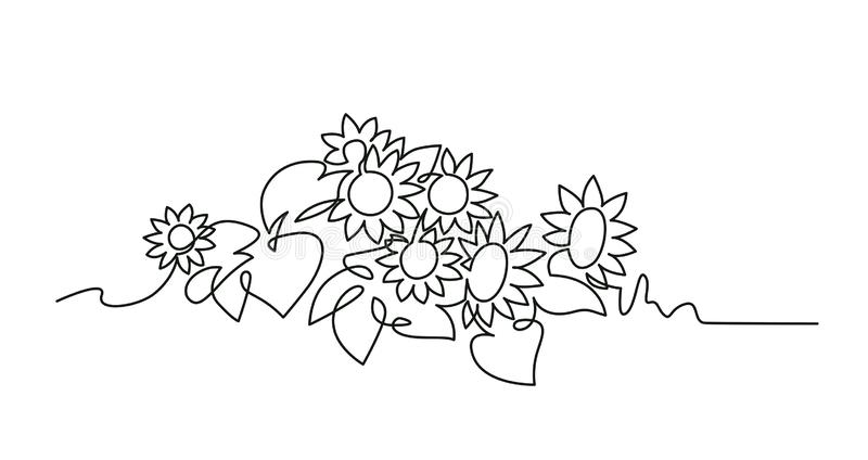 Sunflowers continuous one line vector drawing stock illustration