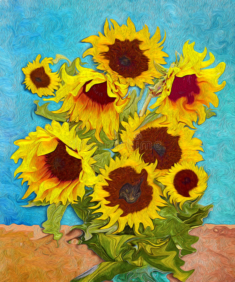 Sunflowers, digital art stylised like impressionism painting royalty free illustration