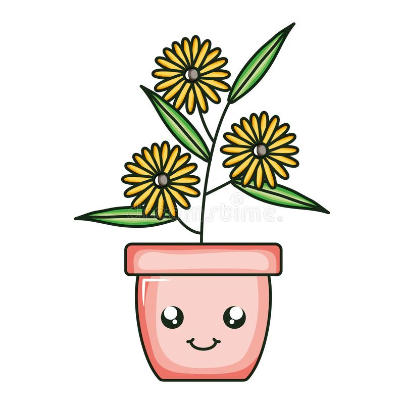 Sunflowers garden in ceramic pot kawaii character. Vector illustration design royalty free illustration