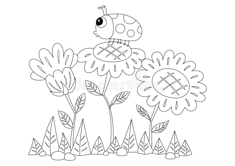 Sunflowers and a Ladybird Colorless. Sunflower and a ladybird vector illustration. Cute ladybug and flowers cartoon. Ladybird colorless for coloring page royalty free illustration