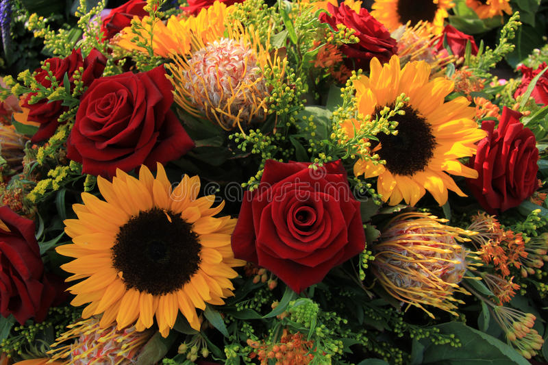 Sunflowers and roses stock image. Image of rose, bride ...