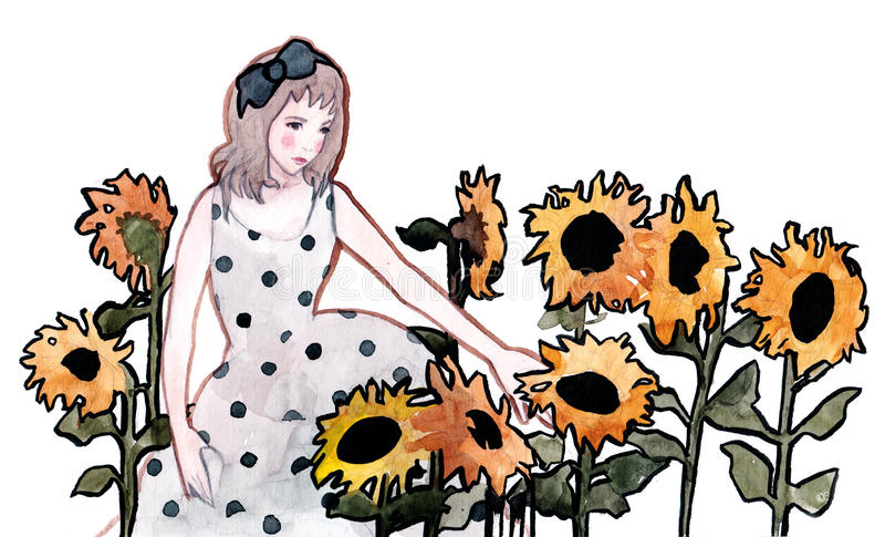 Sunflowers (series B) vector illustration