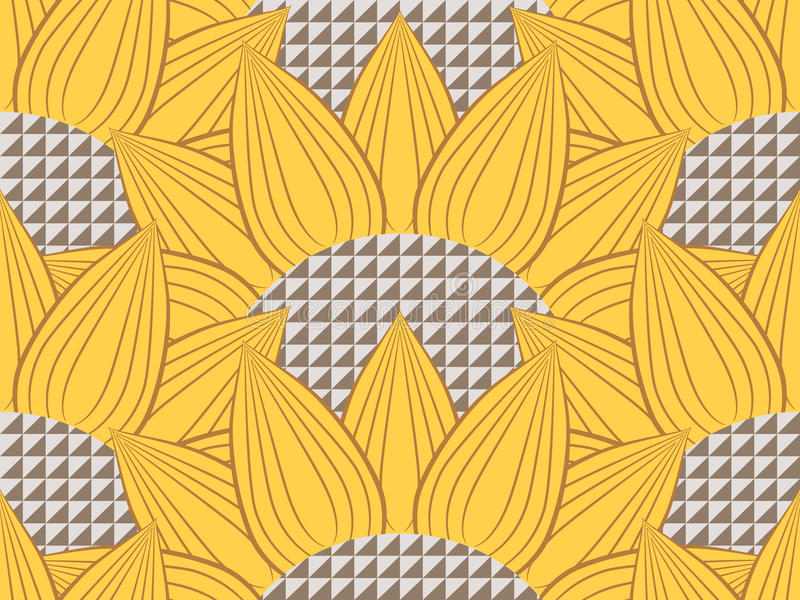 Sunflowers and Technology. Pattern with sunflowers and Technology stock illustration