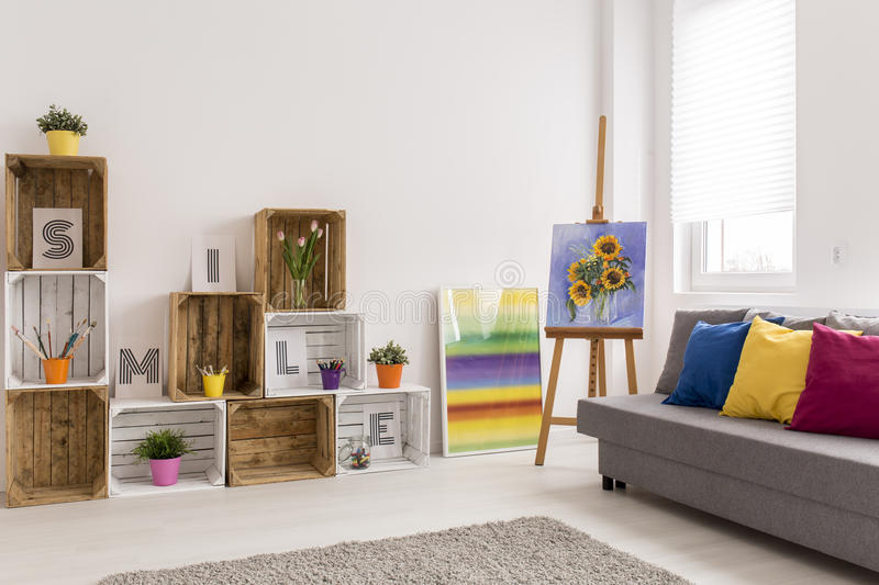 Sunflowers in white room royalty free stock photo