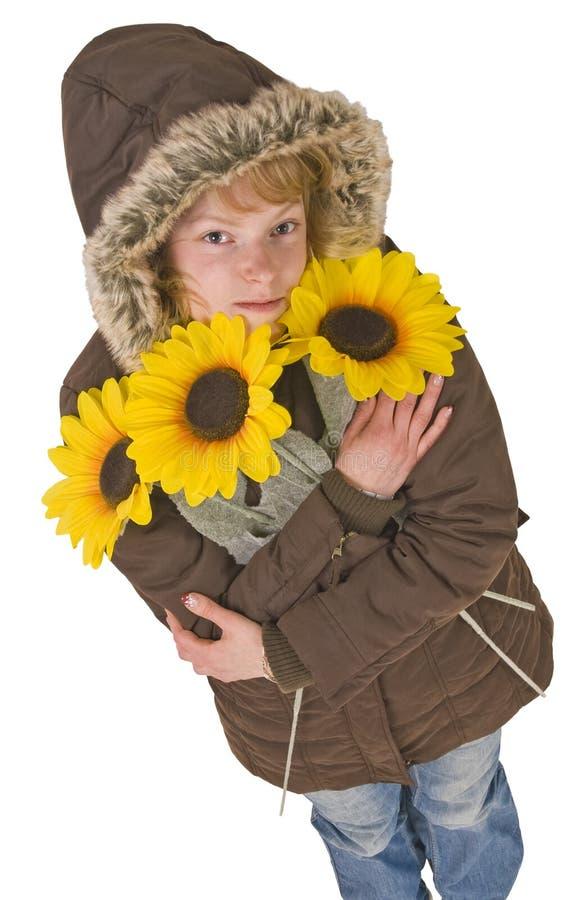 sunflowers woman στοκ φωτογραφία με δικαίωμα ελεύθερης χρήσης