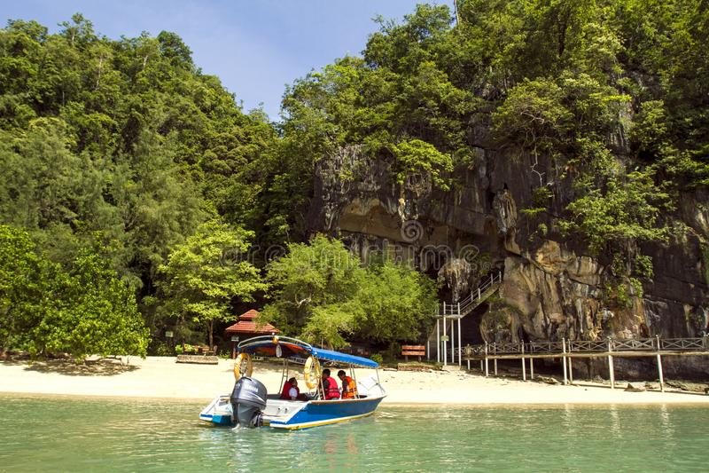 Sungai Kilim Nature Park. Is a 100sqkm protected mangrove swamp with mangrove forests, remote beaches and blue lagoons. From the river banks up to the estuary stock photos