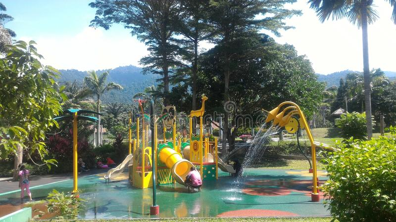 Sungai Klah Hotspring, Malaysia. Felda Residence Hot Springs is a 6.5 hectare water theme park at Sungai Klah, a village hidden deep in the countryside of royalty free stock photo