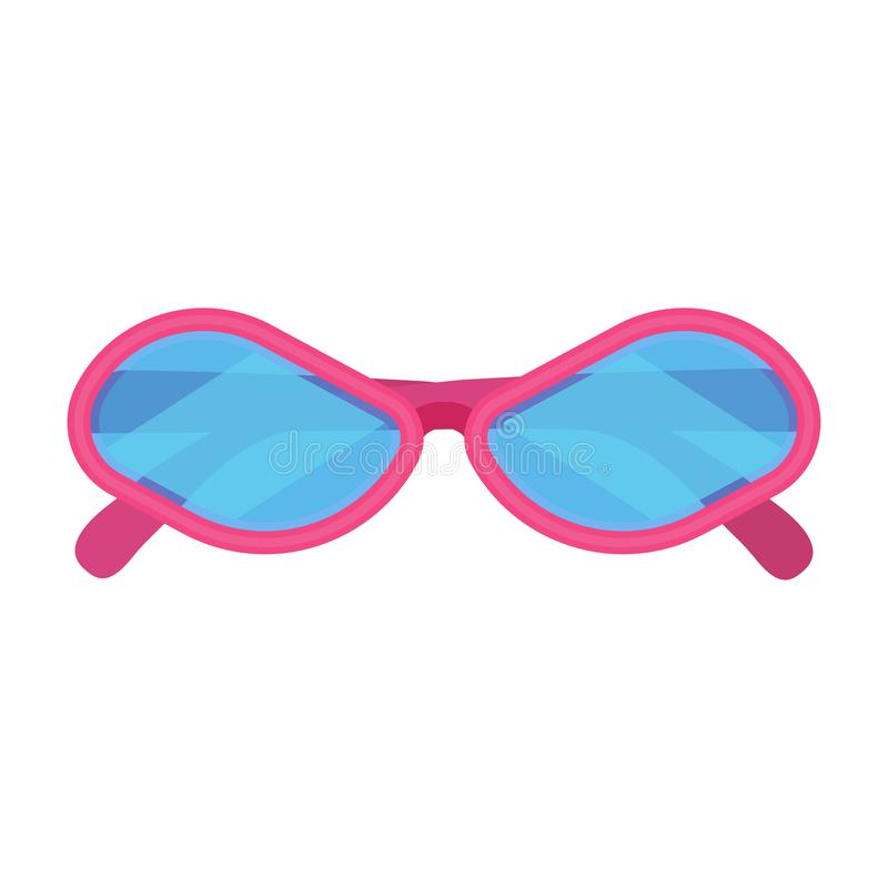 Sunglass fashion vector icon accessory pink frame. Isolated eye lens protection summer. Cartoon hipster funny vacation stock illustration