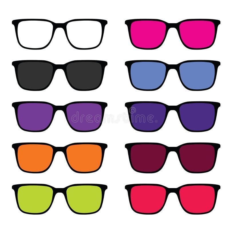 Sunglass set illustration in colorful stock illustration