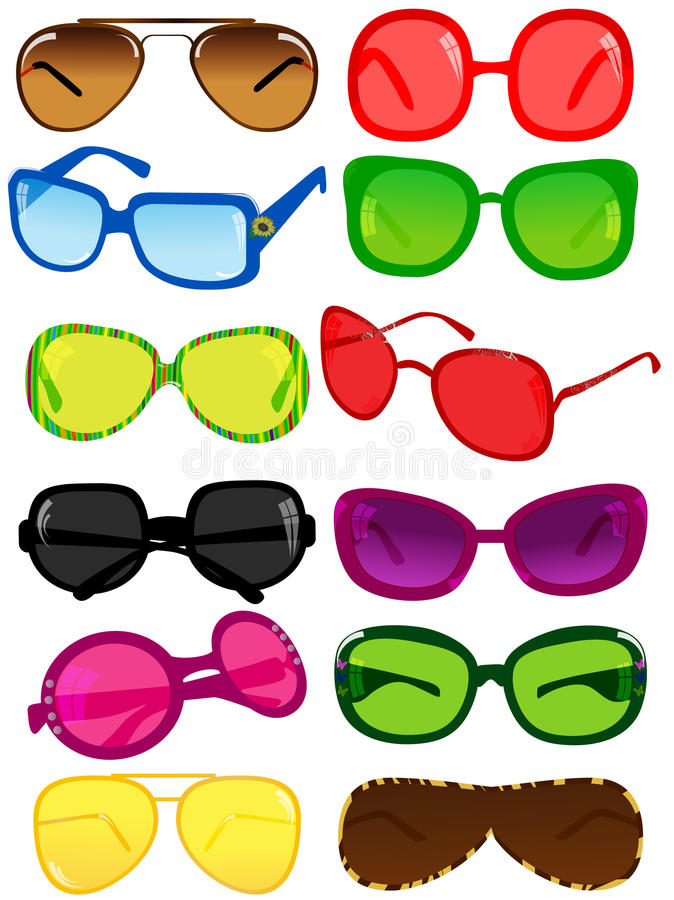 Sunglasses. Vector illustration of different sunglasses vector illustration
