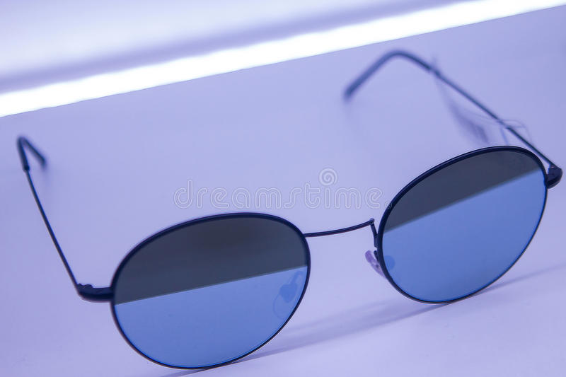 Sunglasses apparel online shop with high quality expensive lenses sold at low prices which are limited edition. Special lense pr royalty free stock photography