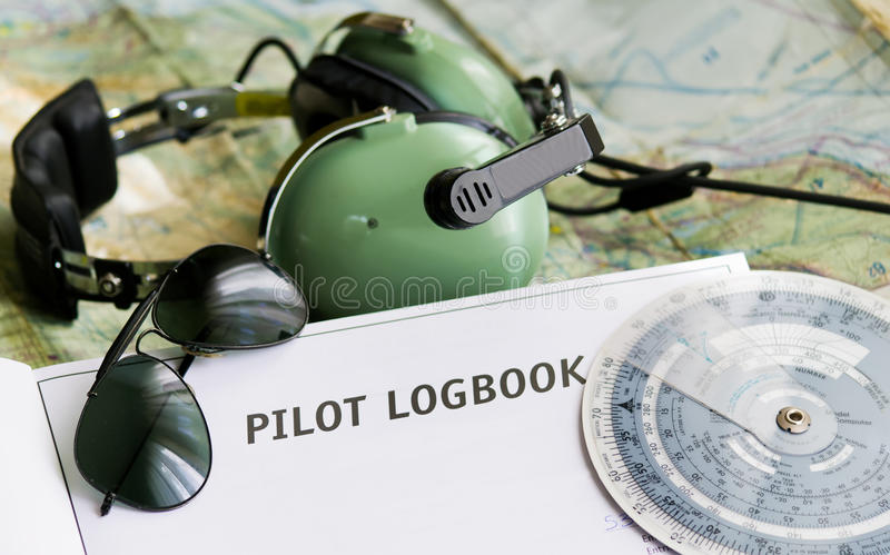 Sunglasses and aviation tools stock images