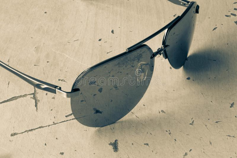 Sunglasses aviators in black and white style subject photography.  stock photos