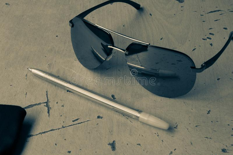 Sunglasses aviators in black and white style subject photography.  stock images
