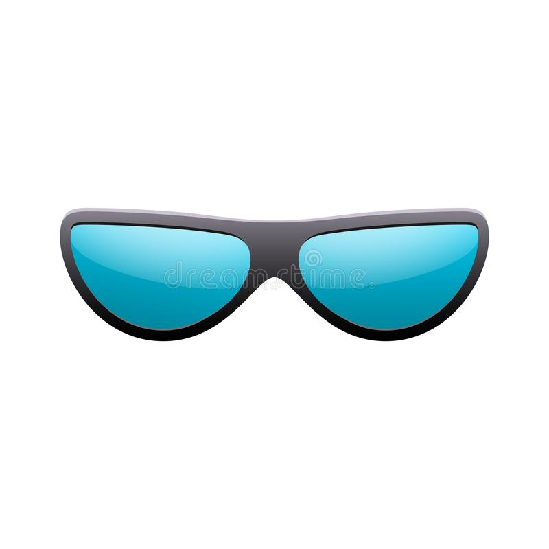 Sunglasses 3D. Summer sunglass shade isolated white background. Fun color sun glass. Realistic design eye sight stock illustration