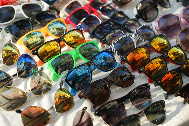 Sunglasses. Different styles of tinted sunglasses on white background stock image