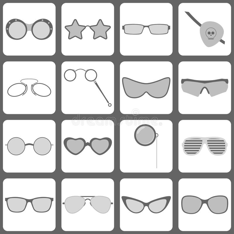 Sunglasses and glasses icons. Set of 16 sunglasses and glasses icons royalty free illustration