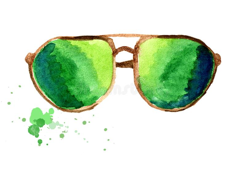 Sunglasses in gold frame with green glass. Isolated on white background. Watercolor hand drawn illustration vector illustration