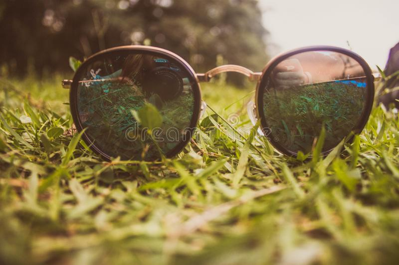Sunglasses on grass royalty free stock image