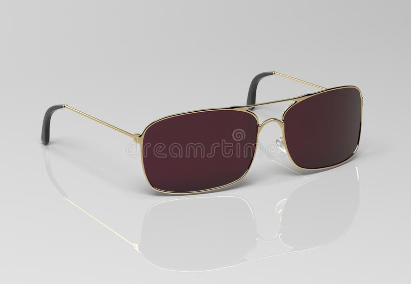 Sunglasses on gray background. 3d rendering illustration royalty free stock image
