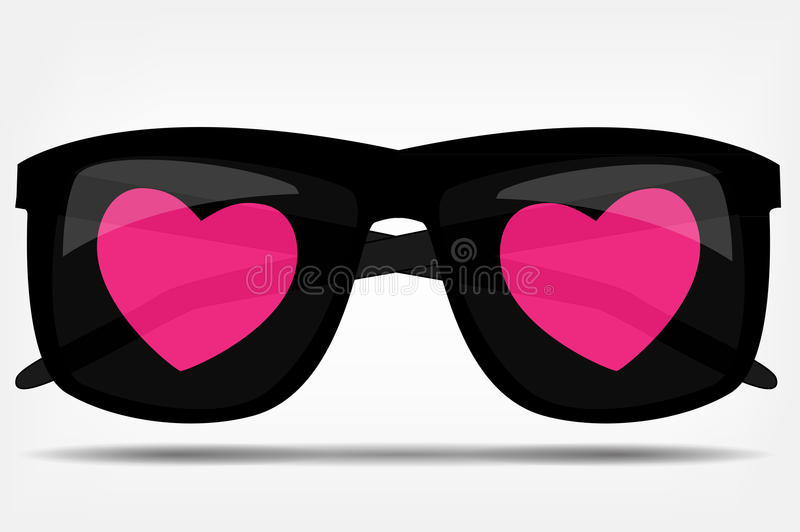 Sunglasses with a heart vector illustration stock illustration