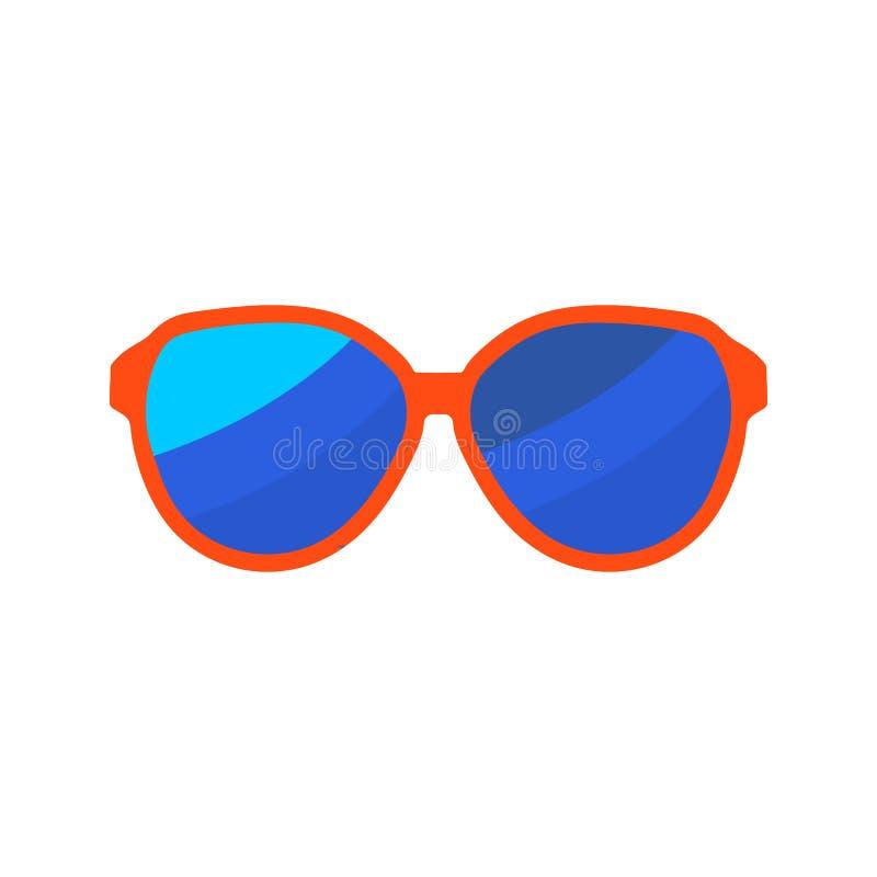sunglasses Icône plate de vacances d'été de couleur sur le fond blanc illustration stock
