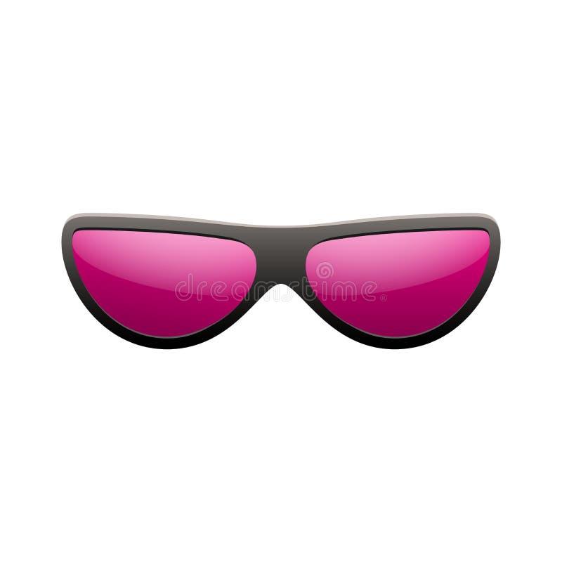 Sunglasses icon. Pink sun glasses isolated white background. Fashion pink vintage graphic style. Female modern optical stock illustration