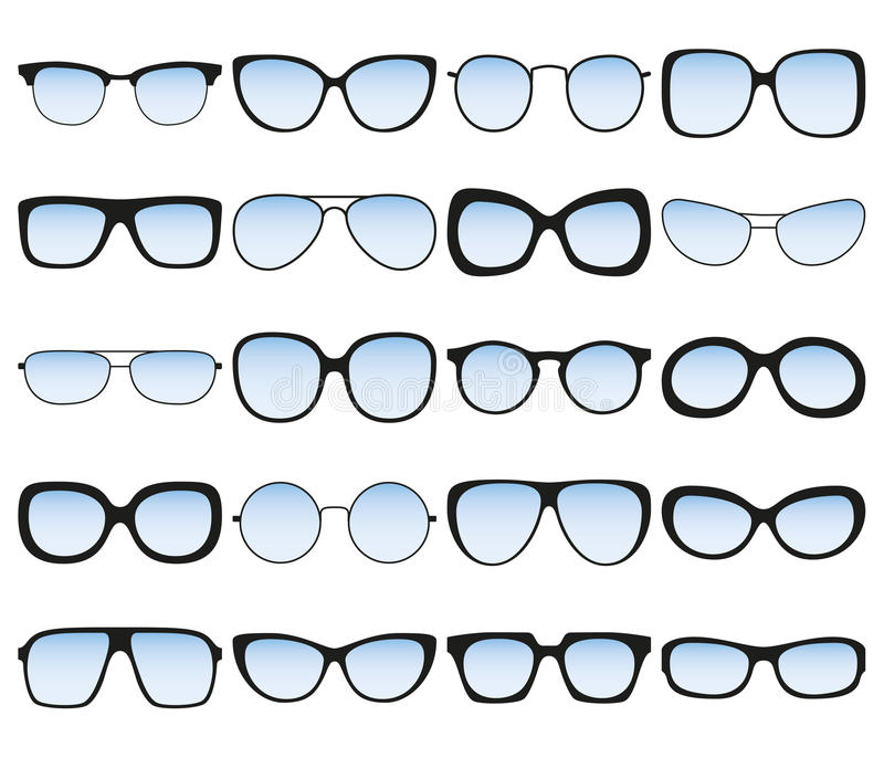 Sunglasses Icon Set. Different Spectacle Frames And Shapes Stock ...