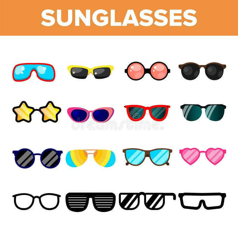 Sunglasses Icon Set Vector. Summer Beach Sunglasses Icons Silhouette. Elegance Wear. Sun Protection. Line, Flat vector illustration