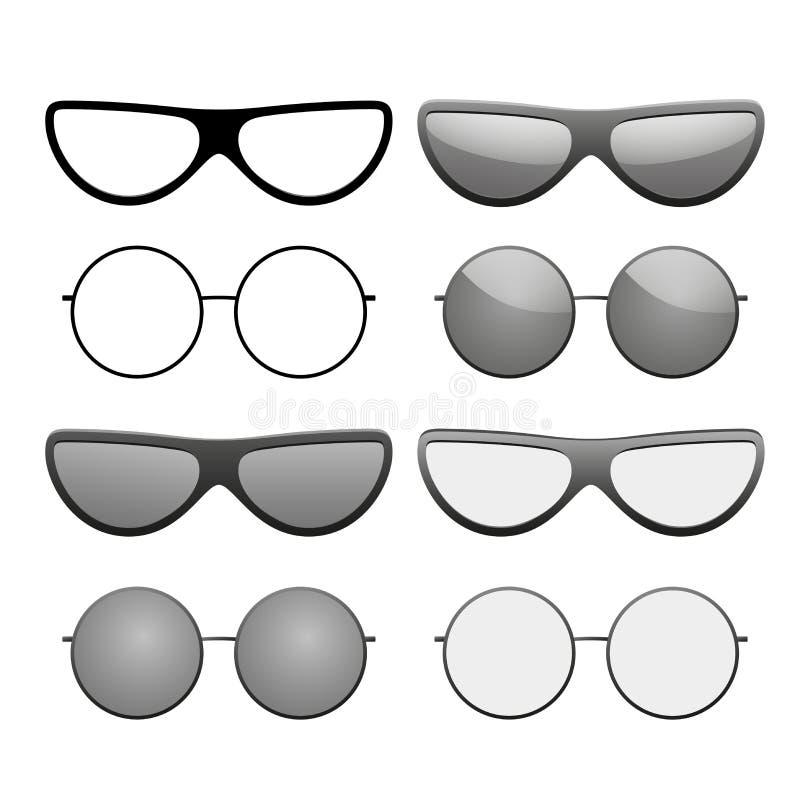 Sunglasses icons set. Black silhouette sun glasses isolated white background. Modern wear design. Fashion eye elegance royalty free illustration