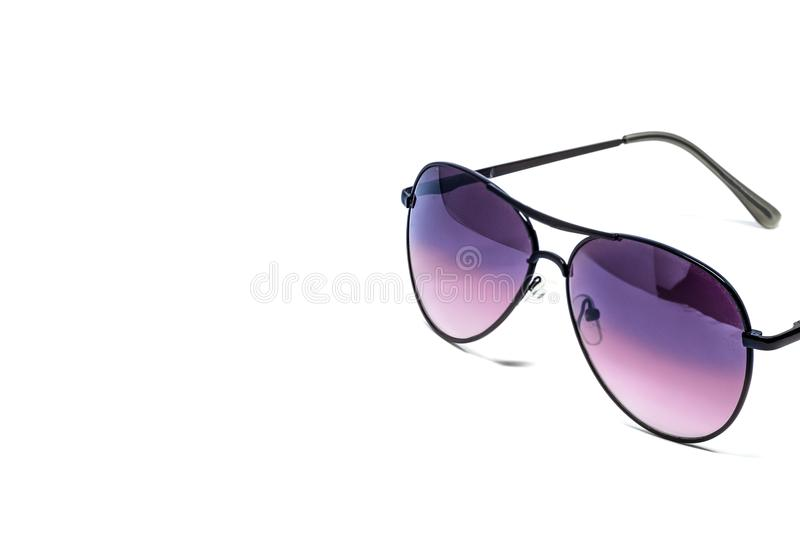 Sunglasses isolated detail. Black sunglasses on white background royalty free stock images