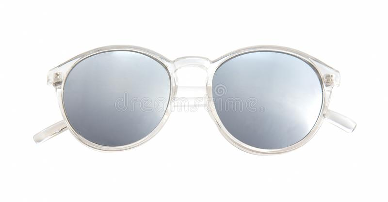 Sunglasses with Multicolor Mirror Lens isolated on white background stock photo