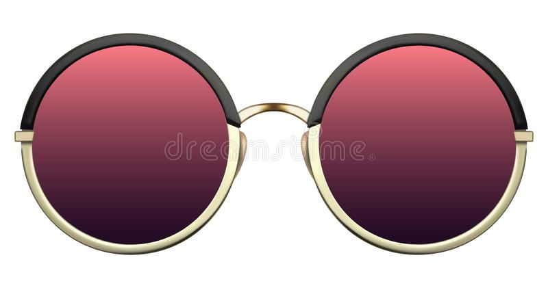 Download Sunglasses With Red Lens And Gold Metalic Frame Stock Vector - Illustration of plastic, hipster: 108863109