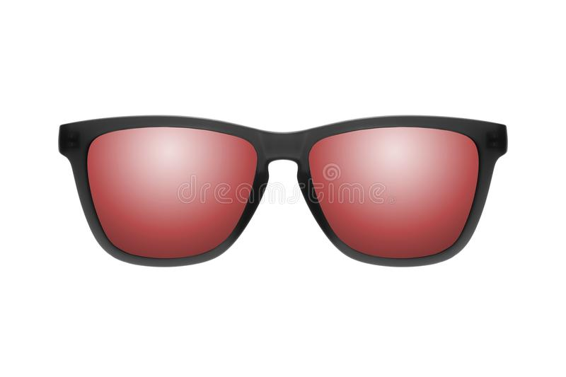 Sunglasses with red lenses isolated on white background stock image