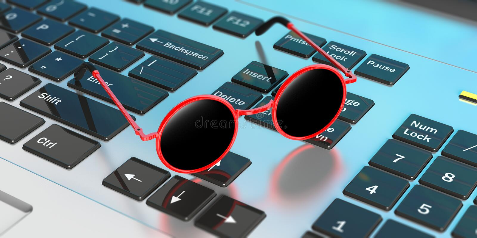 Sunglasses red round frame with black lens, on computer keyboard. 3d illustration. Dreaming summer vacation at work. Sunglasses red round frame with black lens royalty free illustration