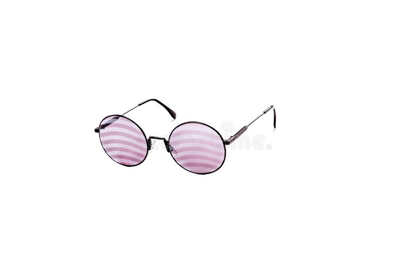 Sunglasses with red striped glasses on an isolated white background stock image