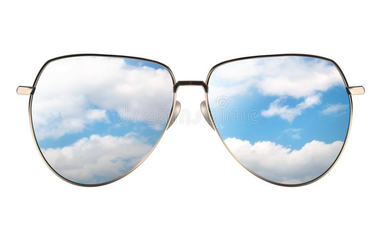 Download Sunglasses With Reflection Of Cloudy Sky Stock Illustration - Illustration of oxygen, heavenly: 108842273
