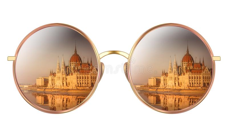 Download Sunglasses With Reflection Of Hungarian Parliament Stock Photo - Image of banner, retro: 108935816