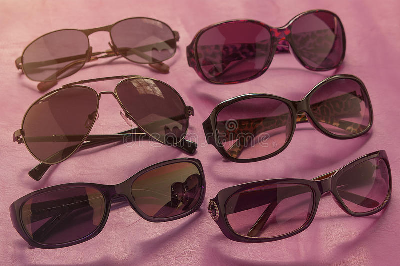 Sunglasses shop with unique sale lenses on discount for online f royalty free stock image
