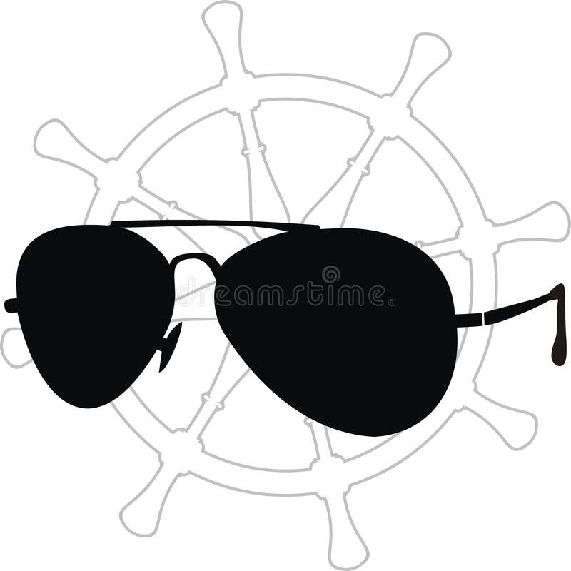 Sunglasses Silhouette And Helm Contour Royalty Free Stock Image