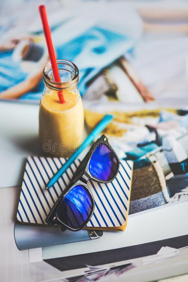 Sunglasses, yougurt, note stock photography