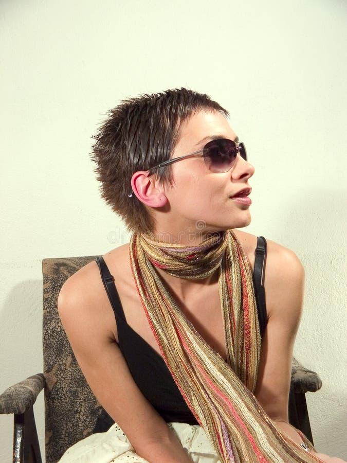sunglassess portretów kobieta zdjęcie stock