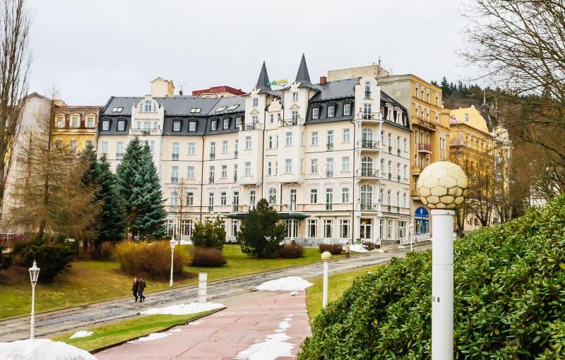Sunhotel. Spa center of small west Bohemian spa town Marianske L. Azne Marienbad in winter - Czech Republic royalty free stock images
