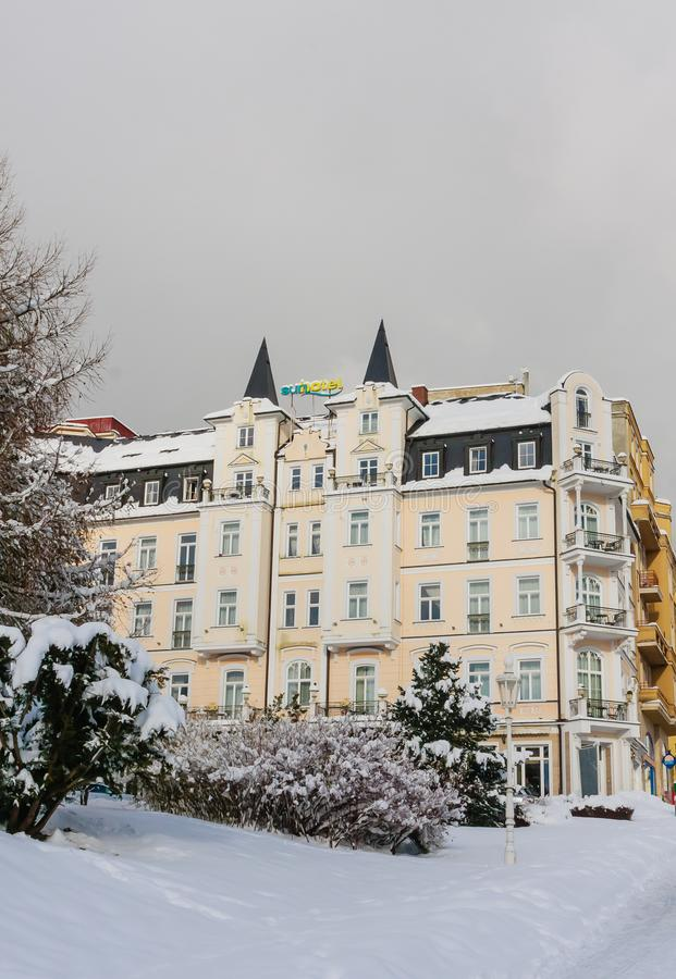 Sunhotel. Spa center of small west Bohemian spa town. Marianske Lazne Marienbad in winter with snow - Czech Republic stock images