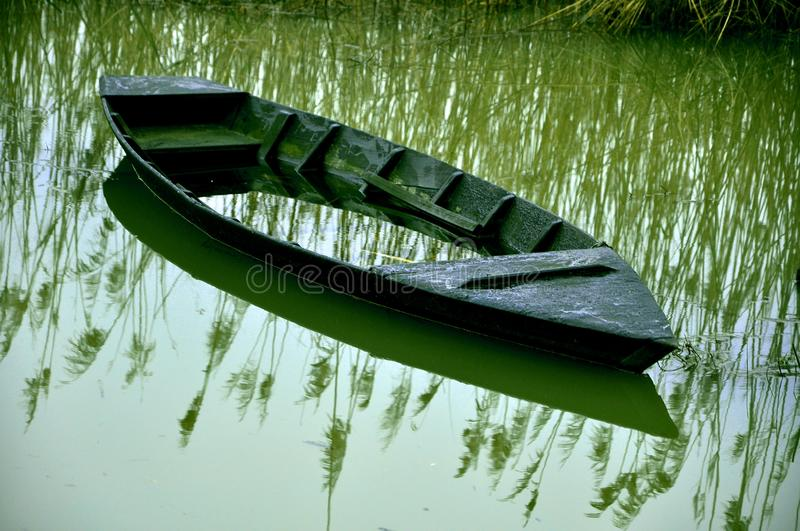 Sunk boat stock photography